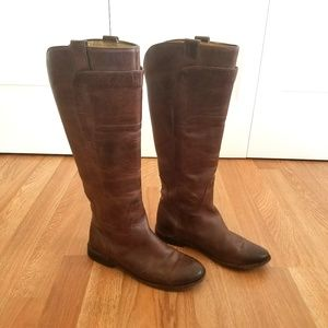 Frye Brown Leather Paige Tall Riding Boots Size 6